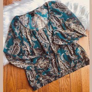 Lucky brand paisley print women's shirt large